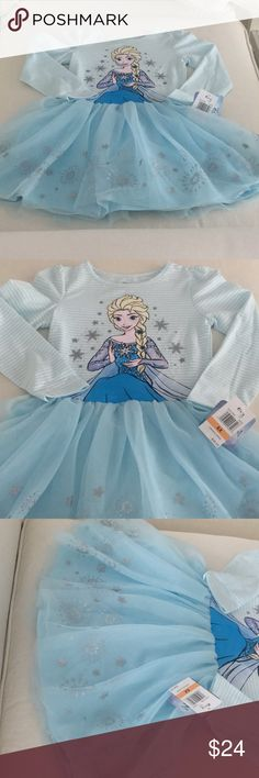 """Disney"" FROZEN little girls tulle dress Sz 6X NWT ""Disney"" Frozen Tulle Dress New With Rags - Retail $38 Little girls Size 6X Perfect for school, play, dress up or your trip to a Disney Resort Top is long sleeve t shirt fabric Bottom is a powder blue tulle skirt with silver decorations Fully lined with a powder blue skirt My home is pet and smoke free! BUNDLE and SAVE!!! Disney Dresses Casual"