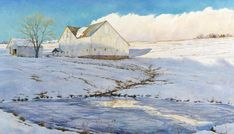"""""""Winter Whites"""" - by David Armstrong. Snow Scenes, Winter Scenes, Landscape Art, Landscape Paintings, David Armstrong, Winter Beauty, Winter Wonder, Paintings I Love, Watercolor Artists"""