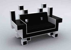 """Design sofa fashionable and trendy with attractive shapes wrapped with black and white color domination. White and black color to produce an elegant impression on the couch that is named """"Space Invander"""""""