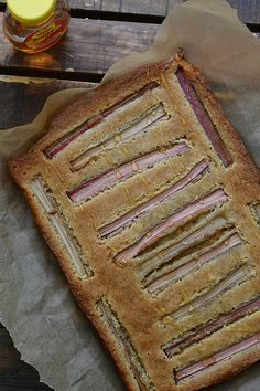 Honey Rhubarb Blondies from @bakeaholicmama