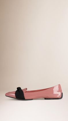 Grosgrain Detail Patent London Leather Loafers Coral Pink | Burberry