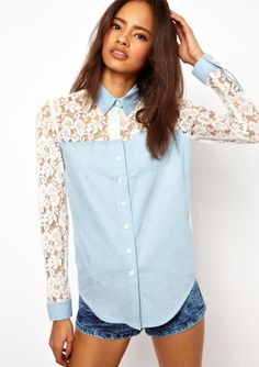 Blue Contrast Lace Long Sleeve Denim Blouse - Sheinside.com