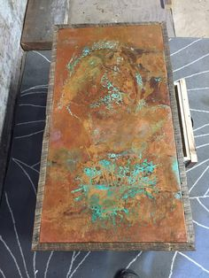 Copper and reclaimed wood coffee table by 220Grit on Etsy