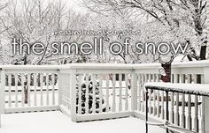 The smell of snow (pinning this one because of my love of Gilmore Girls!)