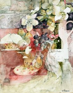 A Fruit Bowl with Black Grapes & Pears by Shirley Trevena
