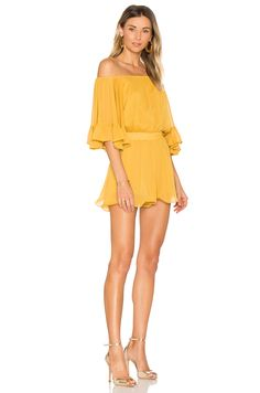 Disneybound Belle-Endless Rose Ruffled Sleeve Romper in Honey Yellow | REVOLVE