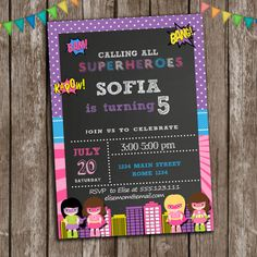 Superhero girl Birthday Invitation Supergirls by LovelyDesings