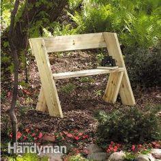 Montar este banco resistente de dois 2x8s de 10 pés, cola e um punhado de parafusos. Um novato pode concluí-lo em poucas horas.        http...