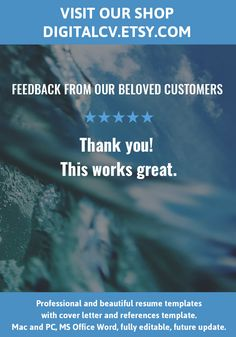 Feedback From Our Beloved Customers Visit DigitalcvEtsyCom For