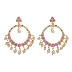 PearlsCart Stylish Purple Stone Golden Hoops #earrings #hoopearrings