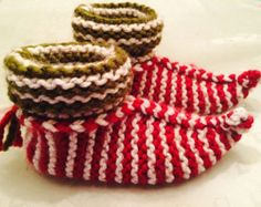 Cozy Knit Elf Slippers pattern. Easy to make. Adult, one size fits most. Instructions for child size indluded.