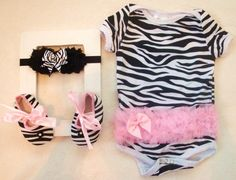 Someone i know, please have a baby girl so i can but you this, thanks!! lol.  Zebra Print Baby Girl Onsie SET with matching by LillyBowPeep, $22.95