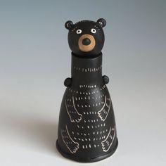 Ceramic Bear bottle Sculpture, Bear Pottery, Black bear bottle, Hand built Pottery, Ceramic Bear Figure | MIDORI TAKAKI Hand Built Pottery, Black Bear, Sculptures, Vase, Ceramics, Bottle, Decor, Ceramica, Decorating