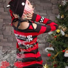 Cyber Goth Punk Rock Clothing Red and Black Long Sweater