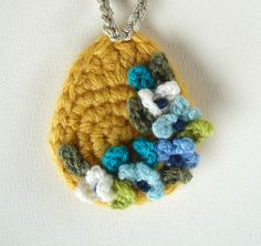 Crochet Yellow with Blue Flowers Pendant Necklace by Sandy Meeks