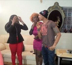 Mercy Johnson and actor Ikechukwu Ogbonna and Clarion Chukwurah for producer Elvis Chuks' movie 'Hustlers'.  In the movie, Clarion plays Ik's sugar mummy.