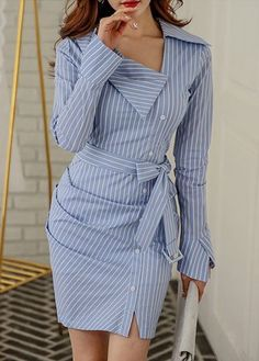 Amazing blue shirt dress design, love it so much - LadyStyle - striped dress summer outfits summer dress outfit blue summer dress outfit blue summer dress outfit outfits baby blue dress - blue dress outfit - Summer Blue Dresses 2019 Cute Dresses, Casual Dresses, Casual Outfits, Short Sleeve Dresses, Long Sleeve, Mini Dresses, Cheap Dresses, Trend Fashion, Look Fashion