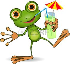 illustration of cheerful frog and a cocktail