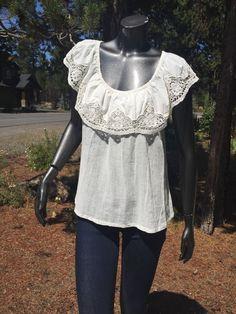 Floreat Anthropologie Crochet Lace Cream Gauze Blouse Top 4 Mint Free SHIP | eBay