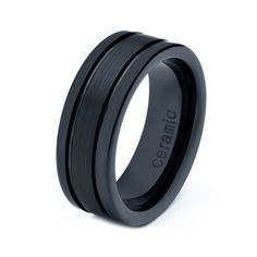 Mens Womens Ceramic Wedding Band Ring 8mm Black 515 by GiftFlavors, $44.77