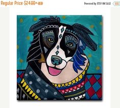 Border Collie art Tile Ceramic Coaster Print of painting by Heather Galler