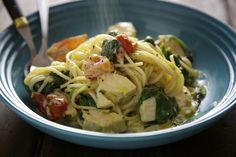 Kremet spaghetti med klippfisk, spinat, tomat og hvitløk | Spiselandslaget
