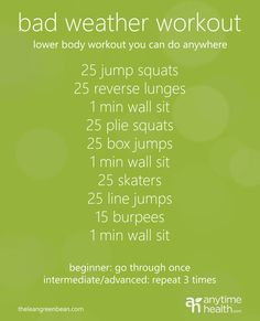 Bad Weather Workout: Lower Body Circuit You Can Do Anywhere -I love this! I prefer to walk everywhere as the core of my excersize but it's difficult in the rain or extreme cold Fitness Tips, Fitness Motivation, Health Fitness, Lower Body Circuit, Plie Squats, Interval Training, Skinny, I Work Out, Get In Shape