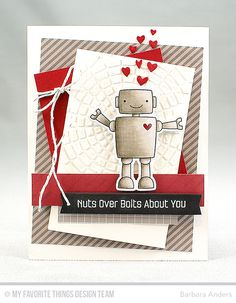 Handmade card from Barbara Anders featuring Miss Tiina Bionic Bots stamp set and Die-namics, Tag Builder Blueprints 5 and Blueprints 27 Die-namics, and Concentric Circle Grid stencil #mftstamps