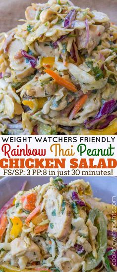 A Rainbow Thai Chicken Peanut Salad with bell peppers, slaw, red cabbage and carrots in a rainbow of colors with a delicious and light peanut dressing for just 2 smart points per serving.