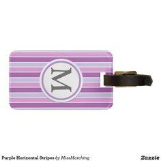 Purple Horizontal Stripes Luggage Tag