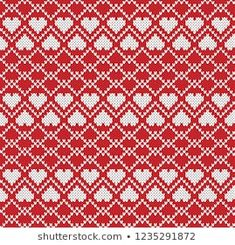 Knitted Design with Hearts. Tapestry Crochet, Knit Crochet, Knitting Designs, Knitting Patterns, Tejido Fair Isle, Scandinavian Pattern, Diagram Chart, Fair Isle Knitting, Pattern Art