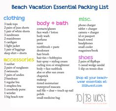 The Essential Beach Vacation Packing List Beach Vacation Checklist, Beach Vacation Packing List, Girls Vacation, Packing List For Travel, Packing Tips, Travel Tips, Birthday Bullet Journal, Travel Essentials, College Essentials