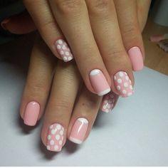 Beautiful nails 2016, Gentle summer nails, Manicure by summer dress, Nails ideas 2016, Pink dress nails, Pink nails, Polka dot nails, Shellac nails 2016
