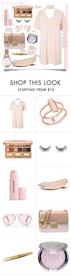 """""""Pink is Me"""" by bitty-junkkitty ❤ liked on Polyvore featuring Glamorous, INC International Concepts, Kandee, tarte, Buxom, Christian Louboutin, Boohoo, Michael Kors, Tweezerman and Sephora Collection"""