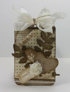 by Narelle Farrugia: Stamplicious 1-28-13. SU Stamps: That's the Ticket, Punch Potpourri (retired). SU papers: Crumb Cakecs , Very Vanillacs , Soft Suede cs, Beau Chateau DSP (retired), First Edition DSP. SU Ink: Crumb Cake, Soft Suede. SU Other: Heart Punch, Mini Library Clip, Ticket Punch, Secret Garden Framelits, Vanilla Flower Trim, Hemp Twine (retired), Bird Punch, Very Vanilla Seam Binding. Challenge: Dynamic Duo #37.