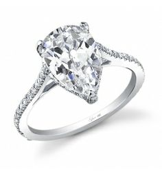Style SY483  3-Carat Diamond Engagement Ring    This 18K white gold engagement ring features a 3-carat pear-shaped center diamond. Beautifully designed to accentuate the center, a total of 0.38 carats of round diamonds flow down the sides.