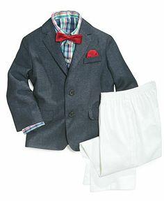 Nautica Little Boys' Textured Suit, Shirt & Bow Tie - Kids - Macy's