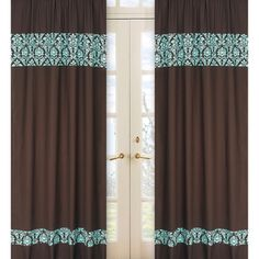 @Overstock - Create a stylish look with these brown and turquoise Bella window panels. Pair with coordinating Sweet JoJo Designs bedding sets to help complete the look and feel of the bedroom theme for your child.http://www.overstock.com/Home-Garden/Turquoise-and-Brown-Bella-84-inch-Curtain-Panel-Pair/7745976/product.html?CID=214117 $52.99