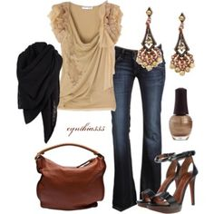Sand/ caramel top with jeans