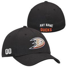 Anaheim Ducks Black Custom Name & Number Stretch Fit Hat #nhlducks #ducks #anaheim