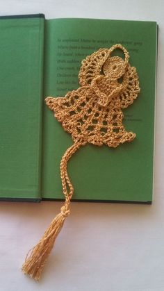 Metallic gold Angel hand crocheted with intricate halo and wings