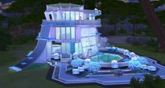 my entry for another crazy This time we build Future House! mine future look like fantasy space reef residence, playable and play tested, noCC, with 1 bedroom, Sims 4 Houses Layout, House Layouts, Sims 4 House Design, Sims House, Sims 4 Game Mods, Sims 4 Mods, Sims 4 House Building, Casas The Sims 4, Sims 4 Cc Packs