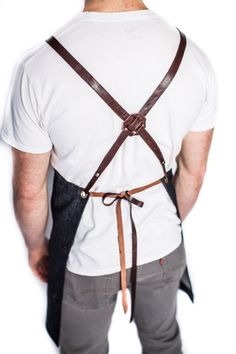 Cross strap - industrial - functional - comfortable - mens - barista - denim and leather apron - made in usa - handcrafted -