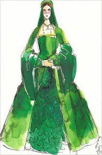 "Concept art for Natalie Portman as Anne Boleyn in emerald court gown from ""The Other Boleyn Girl"". Sandy Powell, Costume Design Sketch, Anne Boleyn, Mary Boleyn, The Other Boleyn Girl, Hollywood Costume, Disney Images, Art Costume, Girl Sketch"