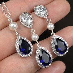 Blue Navy bluesapphire blue Wedding Jewelry by thefabbridaljewelry