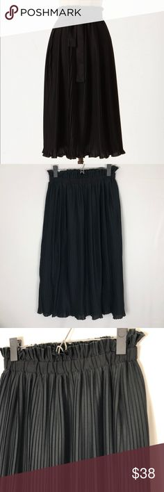Anthropologie Hunter Dixon pleated midi skirt Anthropologie Hunter Dixon pleated midi skirt   Excellent condition The sash (belt) in the stock photo is missing but can easily be replaced  Elastic waist  Very flattering  Measurements laying flat, waist 13 inches Length 30 inches  O Anthropologie Skirts Midi