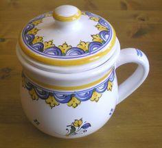 Handmade cup ceramic (hutterite design) Hungarian Embroidery, Handmade Pottery, Amish, Ceramic Pottery, Embroidery Patterns, Dutch, Ceramics, Tableware, Clothing