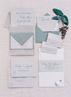 Mexico Workshop – Wedding Invitation, jade and grey, royal blue and grey, pretty font examples