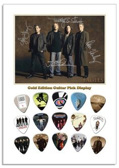 Eagles Photo Display with 15 Guitar Picks