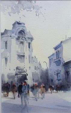 The lines of the buildings are blended out so that there is less definition around the buildings and people have also been sketched to add to the whole scenery.